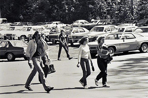 Historic photo of students on campus