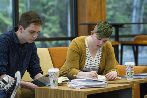 students studying in Lakeside Center
